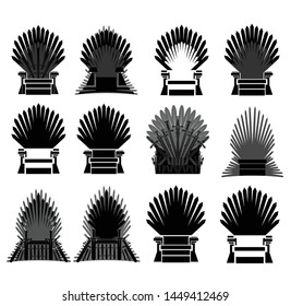icons of black chairs on white background