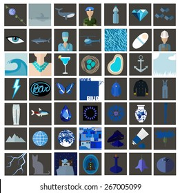 Icons of blue. Set of flat icons associated with blue color. Icons of food, nature, people and other objects in blue color.