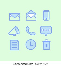 icons blue and white Email web on green background