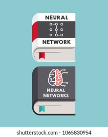 Icons of books about neural networks and artificial intelligence. On the cover is a scheme of algorithms and a brain with microcircuits.