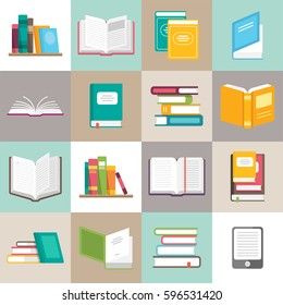 Icons of books vector set in a flat style. Books in a stack, open, in a group, closed, etc. Read, learn and receive education through books.