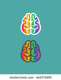 Icons of the brain in the colors of the rainbow.