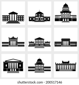 Icons of buildings with columns on a white background