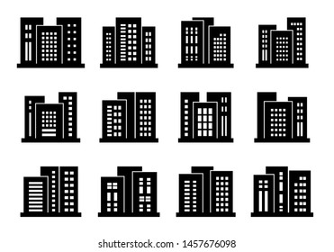 Icons buildings and company set, Vector bank and office collection on white background, Isolated edifice and residential illustration