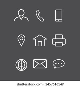 Icons Business Card. Vector symbols set. of Web  Social media .