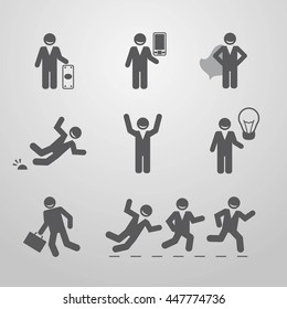 Icons businessmen. Business situation. Vector illustration.  Eps10.