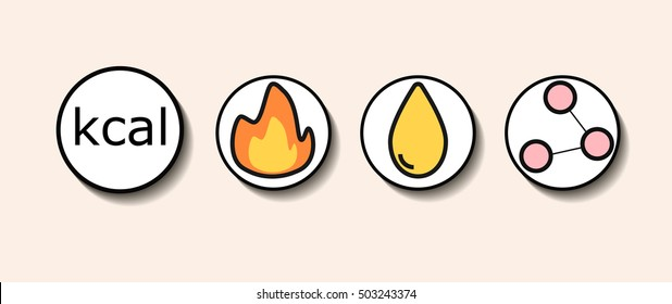 Icons for calorie, carbohydrates, fats, proteins with shadow design element vector
