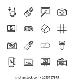 Icons Camera with light meterin, remote release, vertical framing, camera movement and camera flash