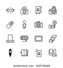 Icons Camera with old photo, hands framing, camera flash, developing tray and wireless remote