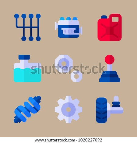Icons Car Engine Crankshaft Tank Stock Vector Royalty Free Fuse Box With Water And Gear
