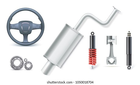 Icons of Car parts for auto services. Various car accessories isolated on white. Bearings kit, shock absorber, piston, shock absorber, spring, automotive silencer, steering wheel 3D illustration