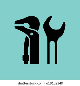 Icons car service. Two spanners. Black pattern on a green background.