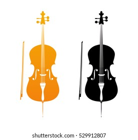 Icons of Cello in golden and black colors - orchestra strings music instrument in vertical pose, Vector Illustration isolated on white background