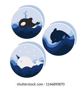Icons with cetaceans. Whale, narwhal, dolphin in blue tones.