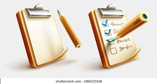 Icons of checklist things to do on clipboard with paper sheet and pencil drawing ticks checking selection marks. Eps10 vector illustration.