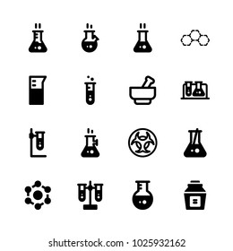 icons Chemistry. vector sylinder, benzene and test tube