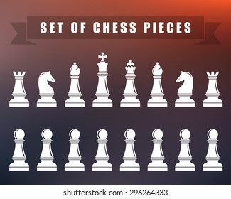 Icons of chess. Chess pieces on blur isolated background. Vector illustration.