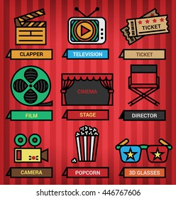 Icons of cinema and media elements in vector format