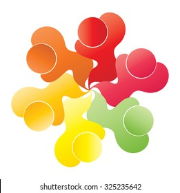 icons in circle - vector concept engagement, togetherness, social media community, leader & leadership, unity, friendship.