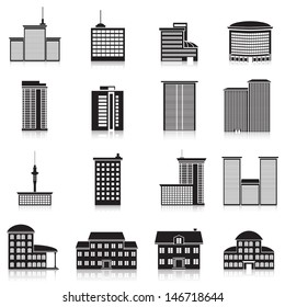 Icons city buildings, offices, schools.