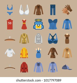 icons Clothes And Accessories with backpack, shirt, hoodie, hanger and bikini