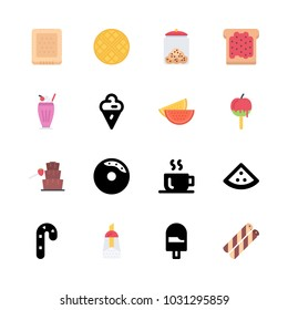 icons Coffee Shop. vector sugar, toast and candy