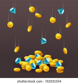 Icons coins, blue crystals, gemstones, gems, diamonds. Cartoon coin for web, game or interface. Vector illustration game art,animation for apps. Finance concept business. Flying gold coins. Treasure.