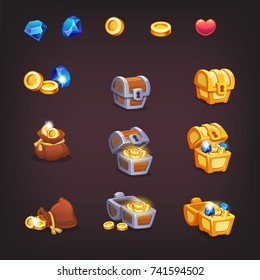 Icons coins and chests for the game interface