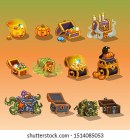 Icons of coins and chests in Halloween style
