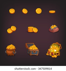 Icons coins for the game interface