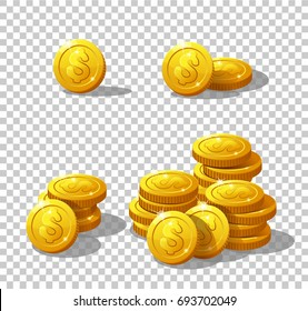 Icons coins for the game interface. Set of cartoon coin for web, game or interface. Vector illustration game art, animation for apps. Stack of coins. Dollar Isolated on a transparent background