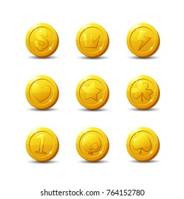 Icons coins for the game interface. Set of different cartoon coins with logos, signs for web, game, application interface. Vector illustration art, animation for apps.Isolated on a white background