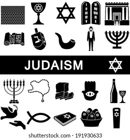 Icons collection for judaism on white background