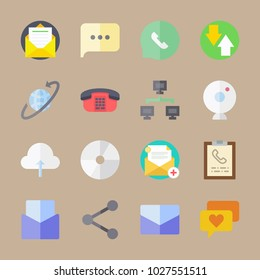 icons Communication with phone, directions, clipboard, disc and webcam