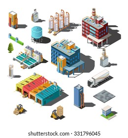 Icons and compositions of industrial building, isolated constructions, subjects isometric view, 3D. Vector set of industry.