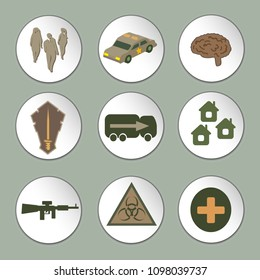 Icons for computer game. Zombies, police car, truck, infection, machine gun, settlement, medical care, brain icons. Vector. Flat design.