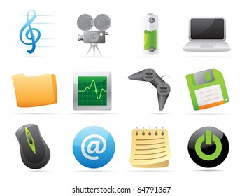 Icons for computer and website interface. Vector illustration.
