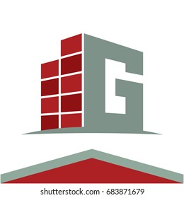 Icons for construction business logo with the initials letter G