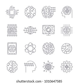 Icons in contour, thin and linear design. Artificial Intelligence, Modern technology. Concept illustration for website, apps, programs. AI, IoT, Robot, Cyber brain, chipping and other. Editable Stroke