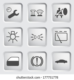 Icons for the control panel of the car set 3. Vector illustration.