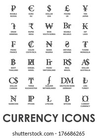 icons currencies in the world on white background