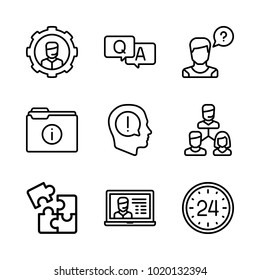 icons Customer Service. vector exclamation, folder and puzzle