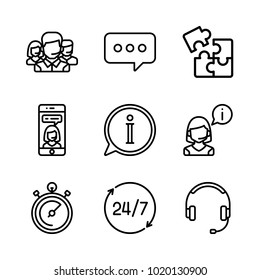 icons Customer Service. vector information, chat  and headphones
