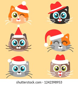 Icons of cute cats with Christmas hats