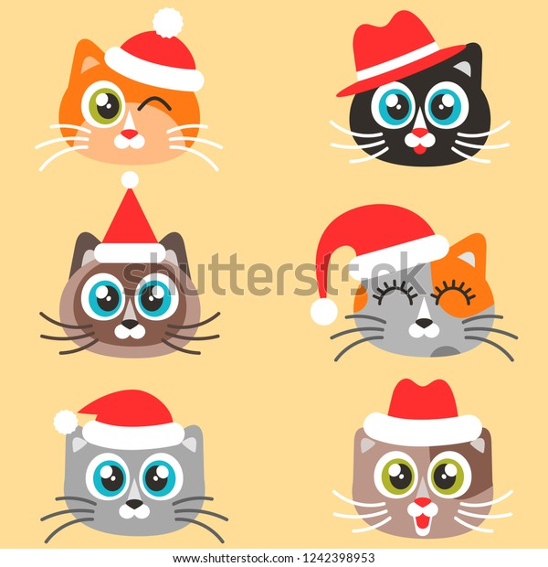 Icons Cute Cats Christmas Hats Stock Vector (Royalty Free