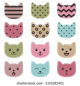 Icons of cute cats for scrapbooking