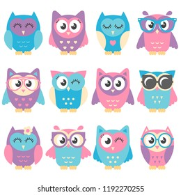 Icons of cute colorful owls