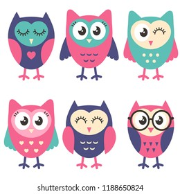 Icons of cute owls
