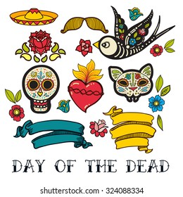 Icons  of Day of the Dead, a traditional holiday in Mexico. Skulls, flowers, ribbons, heart for the design of your products, labels