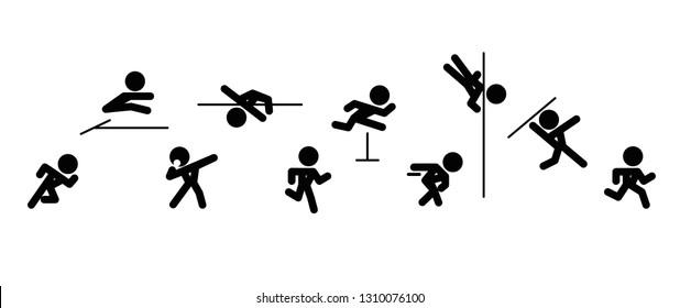 Icons of decathlon-athlete, isolated on white background